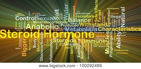 Background concept wordcloud illustration of steroid hormone glowing light