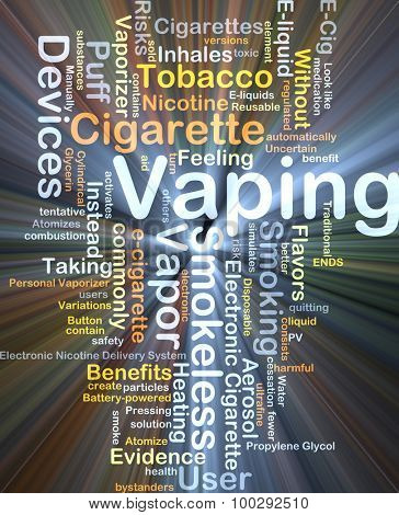 Background concept wordcloud illustration of vaping glowing light