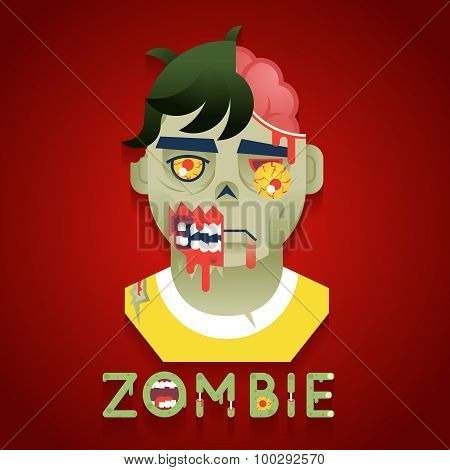 Halloween Party Zombie Role Character Bust Icons Stylish Background Flat Design Greeting Card Templa