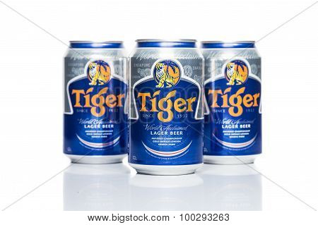 SINGAPORE - August 30, 2015: Tiger Beer is a brand of Asia Pacific Breweries Ltd, Singapore