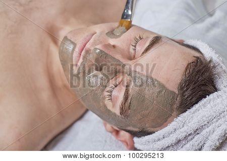 Man Receiving Spa Facial Treatment