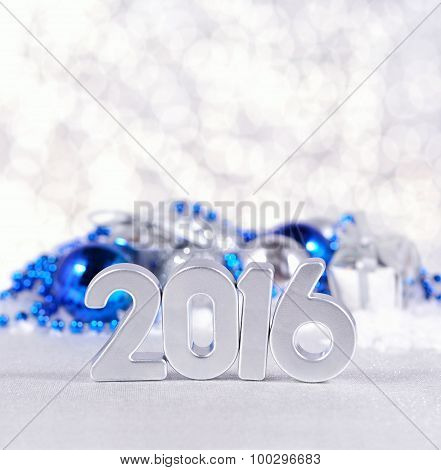 2016 Year Silver Figures And Silvery And Blue Christmas Decorations