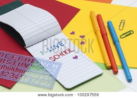 Notebook with word school