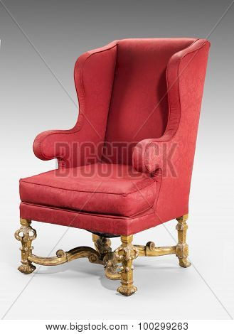Large Red Wing Chair Upholstered In Red Old Antique In Need Of R
