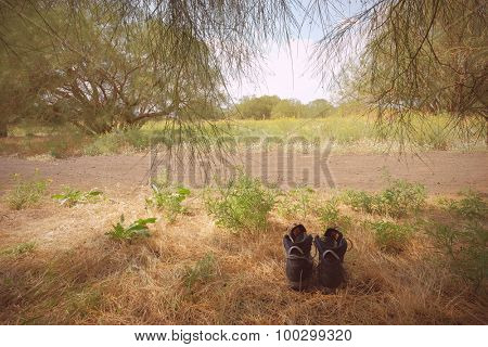 countryside landscape with trekking shoes (filtered images)