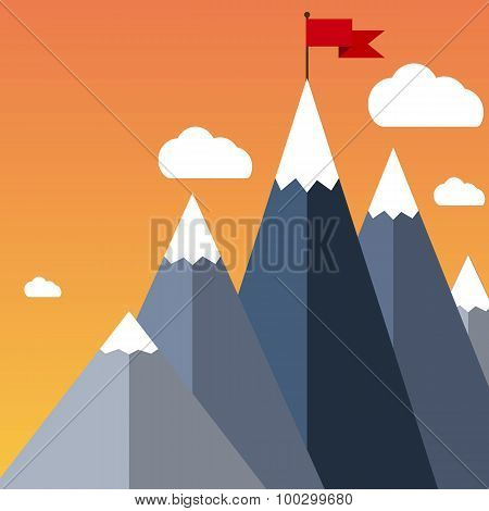 Vector flat flag on mountain. Success illustration.