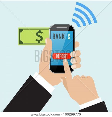 Hand of business man touching deposit button of mobile