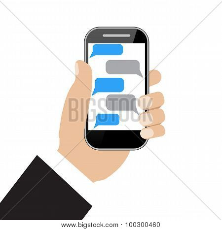 Hand holing black smartphone  with blank speech bubbles