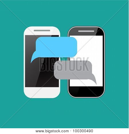 Two smartphones with blank speech bubbles on the screen.