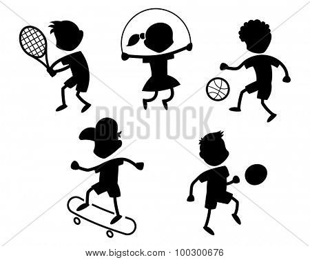 Cartoon sport icons - playing kids silhouettes - black
