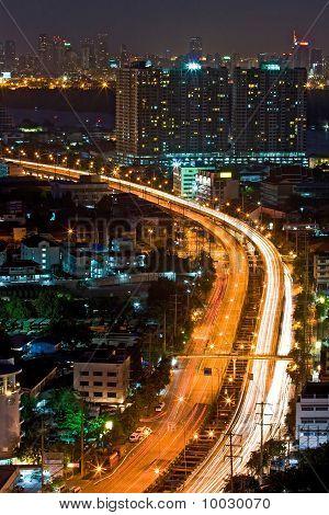 Bangkok Highway Top View at dusk in bangkok Thailand