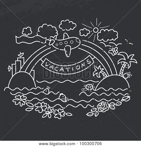 Freehand drawing - cartoon flight of airplane from urban island to tropical island, rainbow with banner Vacation and plane with flag Happy Travel. Chalk