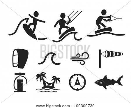 Surfing flat icon