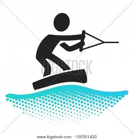 Wakeboarding icon pictograms symbol