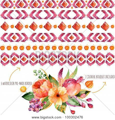 6 watercolor borders for your own compositions + 1 colorful autumn bouquet