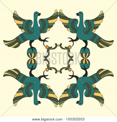 Ornamental Vector Illustration Of Mythological Birds. Folkloric Motive. Fairy Tales, Stories, Myths