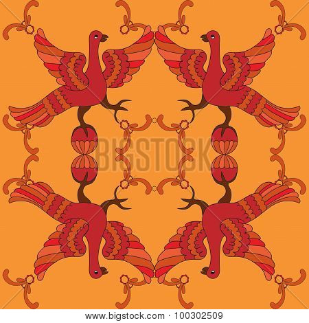 Ornamental Vector Seamless Pattern With Mythological Birds. Red Fairy Birds On The Orange Background