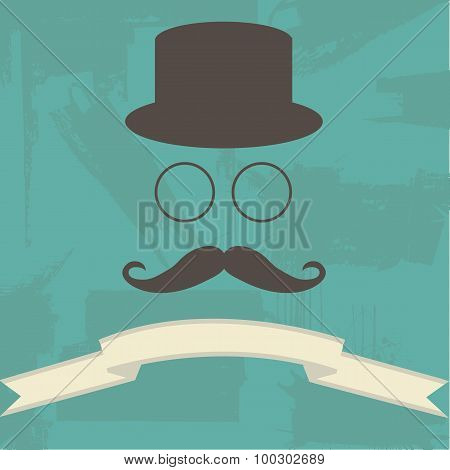 Hipster Illustration on Abstract Background