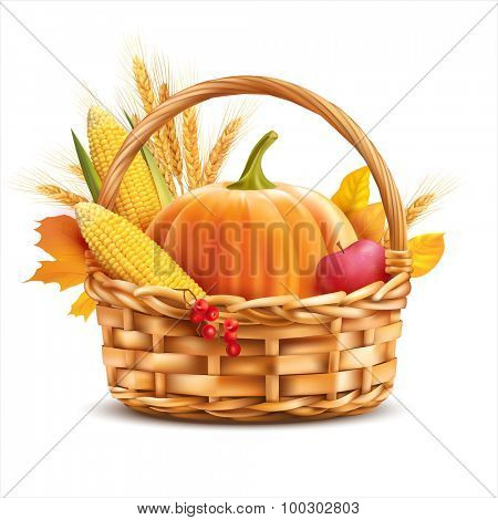 Basket with vegetables and wheat isolated on white. Vector illustration.