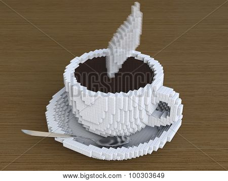 pixel art coffee cup
