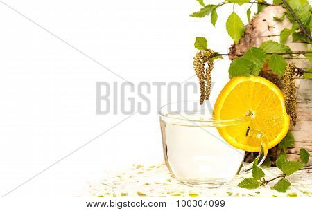 Isolated transparent cup of birch sap and orange