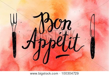 Vector Bon Appetit poster with fork and knife
