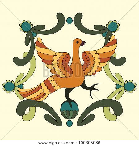 Ornamental Vector Illustration Of Mythological Bird. Folkloric Motive.