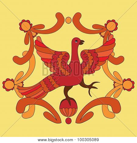 Ornamental Vector Illustration Of Mythological Bird. Red Phoenix Bird On The Yellow Background.