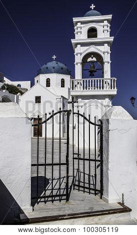 blue roofed church,Thira, Santorini