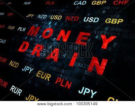 Money concept: Money Drain on Digital background