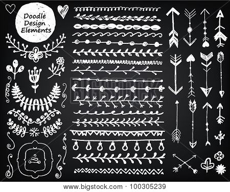 vector floral decor set, collection of hand drawn doodle frames, dividers, borders, arrows design el