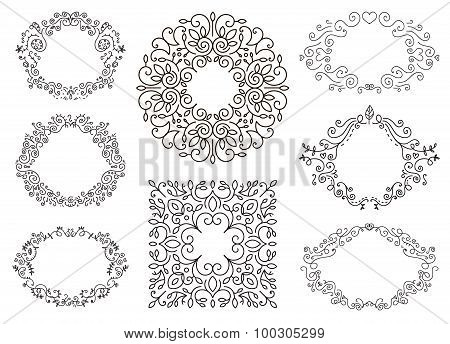 Flourish black and white frames template set. Swirling calligraphic ornament,doodle floral decor. Vi