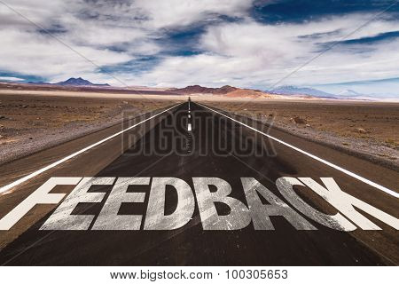 Feedback written on desert road