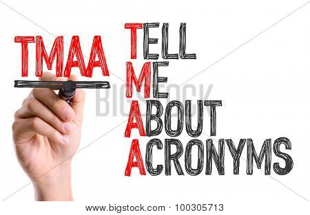Hand with marker writing the word Tell Me About Acronyms