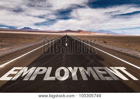 Employment written on desert road