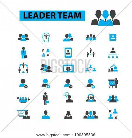 Leader team concept icons:  teamwork,  business team,  team building,  group,  together,  business people,  leadership,  lead,  management,  winner,  business leader. Vector illustration