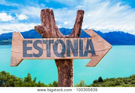 Estonia wooden sign with lake background