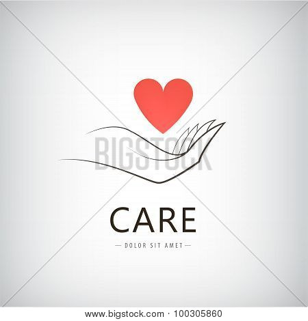 Vector charity, medical, care, help logo, icon with line hand holding red heart.