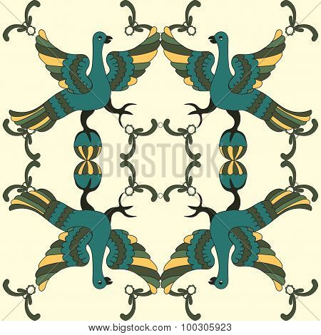Ornamental Vector Seamless Pattern With Mythological Birds. Folkloric Motive.