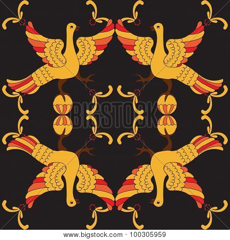 Ornamental Vector Seamless Pattern With Mythological Birds. Yellow And Red Fairy Birds On The Black