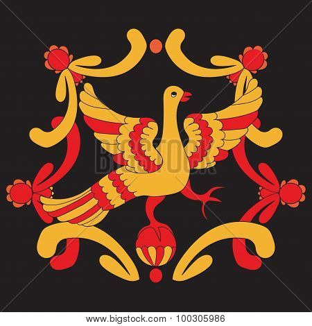 Ornamental Vector Illustration Of Mythological Bird. Yellow And Red Fairy Bird On The Black Backgrou