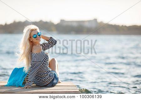 Girl - Captain's in sexy sailor T-shirt.