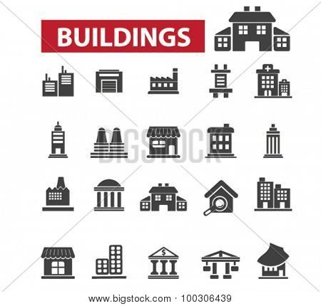 Buildings, houses icons: city,  building construction,  office building,  architecture, office icons,  building logo, administrative building, factory, public house. Vector illustration