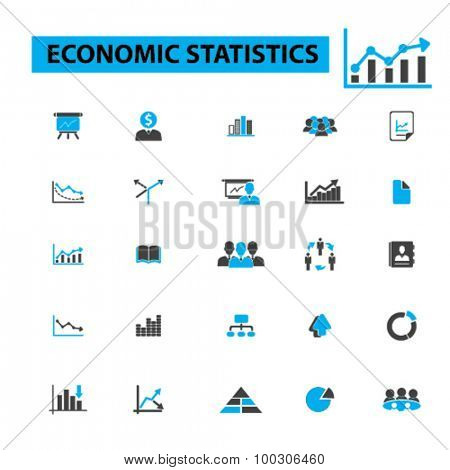Economic statistics icons: infographics,  graph,  data,  chart,  numbers,  graphic,  statistics graph, diagram, economics, financial data, presentation. Vector illustration.