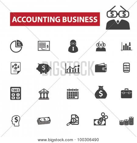 Accounting business concept icons: accountant,  finance,  account,  bookkeeping,  tax,  business,  accounting icons, calculator. Vector set