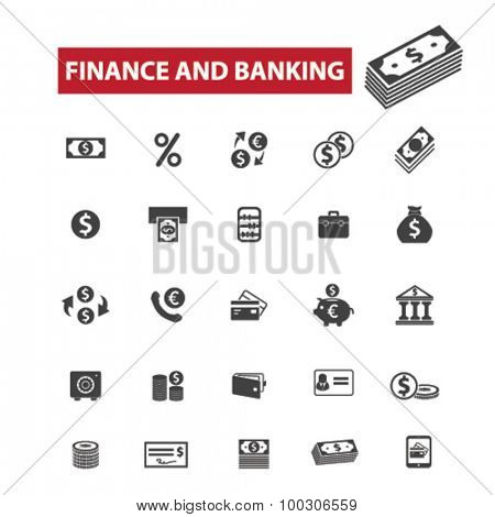 Finance, banking concept icons: money,  bank,  financial,  business,  accounting,  investment, bank building,  finance,  money,  banker,  bank interior,  piggy bank. Vector illustration