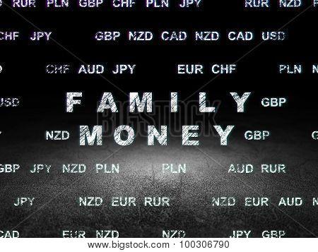 Money concept: Family Money in grunge dark room