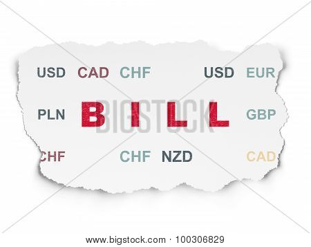 Currency concept: Bill on Torn Paper background