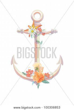 Watercolor anchor, flowers viola, lili, vintage retro design