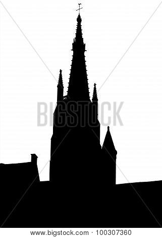 Bruges old town skyline monochrome silhouette